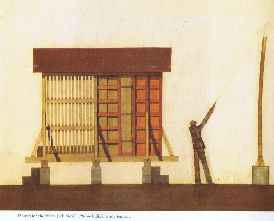 Walter Pichler_Houses-for-the-Steles_1987(elevation)