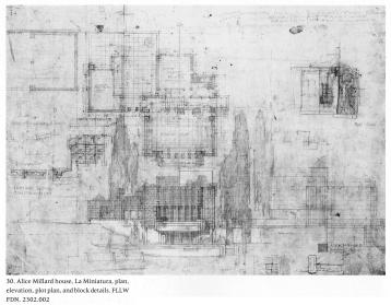 Wright, Frank Lloyd. Millard House, Elevation, plan, site plan and details (1920)